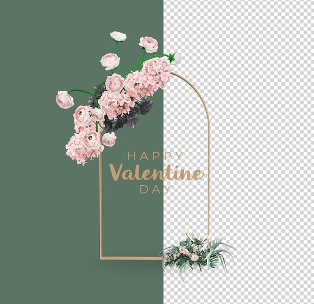 Conception de maquette de décoration de fleurs saint valentin
