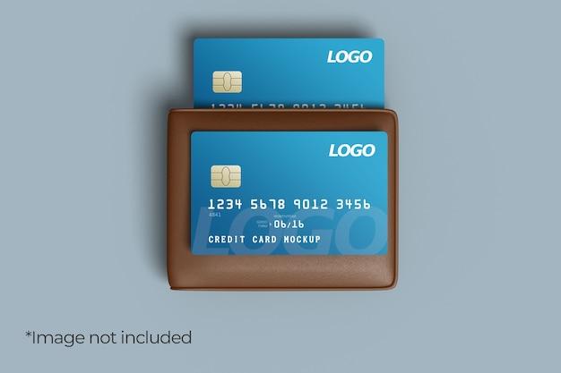 Conception de maquette de deux cartes de crédit avec portefeuille