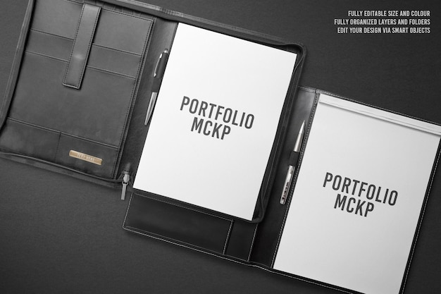 Conception de maquette de dossier de portefeuille noir de luxe