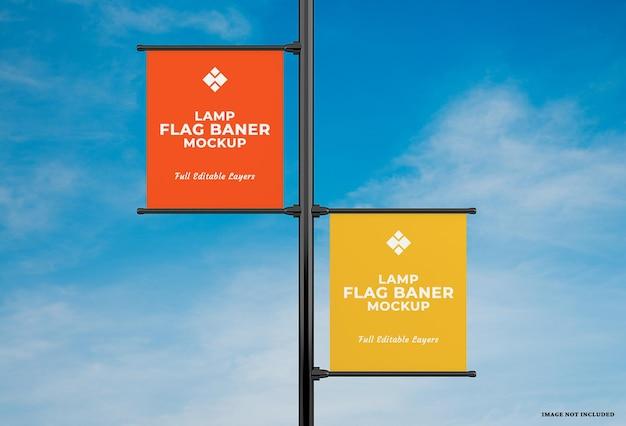 Conception de maquette de drapeau de bannière de lampe publicitaire