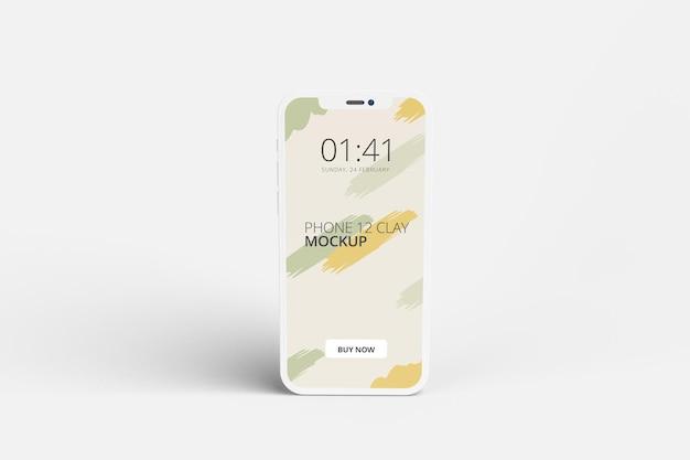 Conception de maquette d'écran de téléphone d'argile isolée