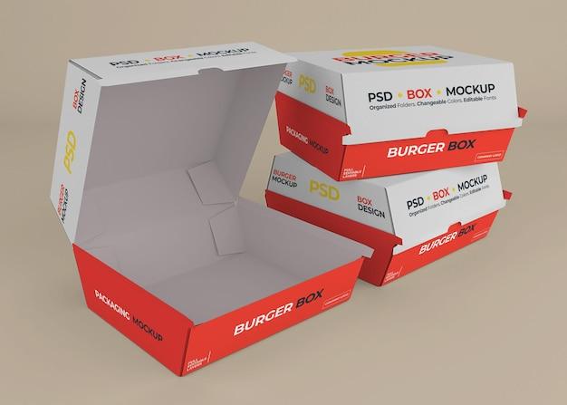 Conception de maquette d'emballage de boîte de hamburger isolée