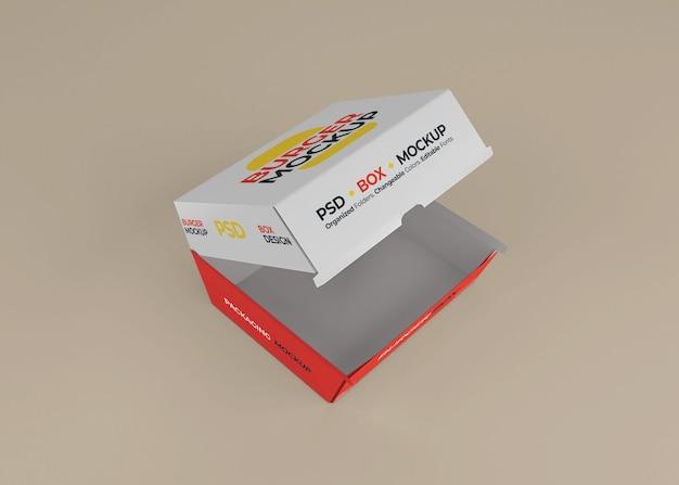 Conception de maquette d'emballage de boîte à hamburger ouverte isolée