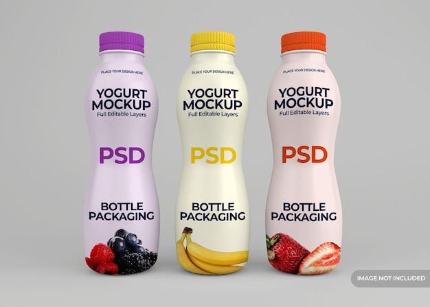 Conception de maquette d'emballage de bouteille de yogourt isolée