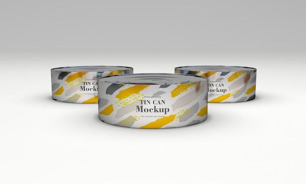 Conception de maquette d'emballage en étain alimentaire à trois métaux