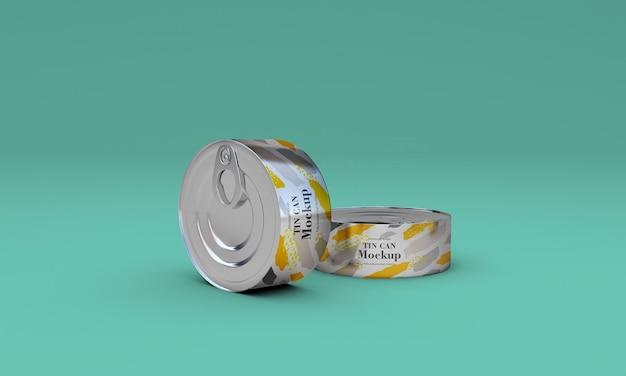 Conception de maquette d'emballage en étain pour aliments en métal