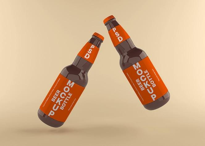 Conception de maquette d'étiquette de bouteille de bière isolée