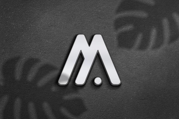 Conception de maquette de logo argenté moderne