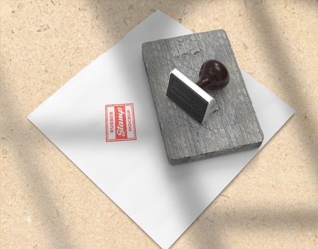 Conception de maquette de logo de papeterie de tampon ou tampon en caoutchouc