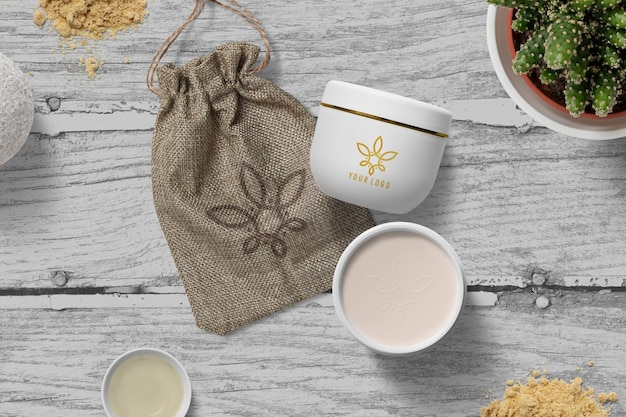 Conception de maquette de logo de pot de crème cosmétique