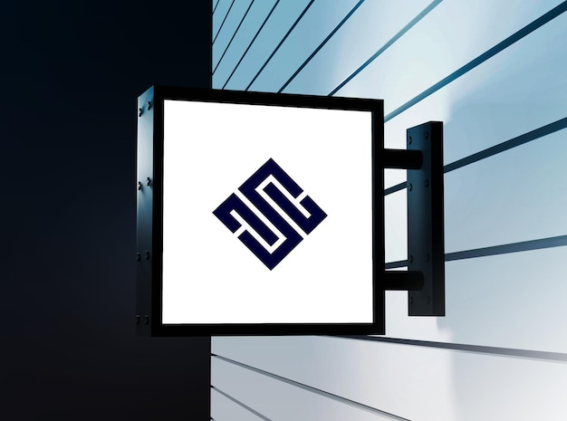 Conception de maquette de logo de signe mural suspendu