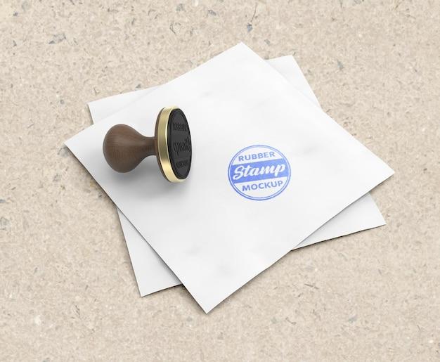 Conception de maquette de logo de tampon en caoutchouc ou tampon réaliste