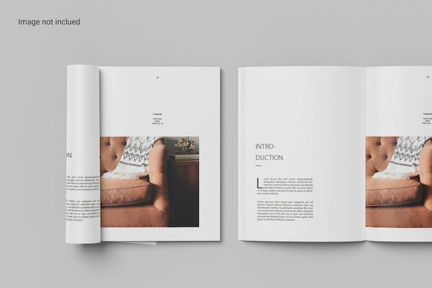 Conception de maquette de magazine enroulé et ouvert