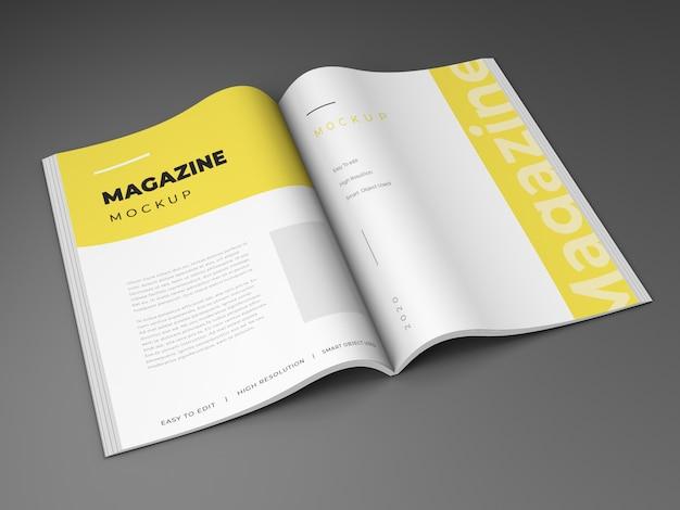 Conception de maquette de magazine ouvert