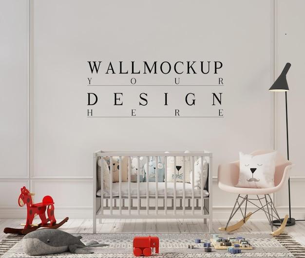 Conception de maquette de mur dans une jolie chambre d'enfant