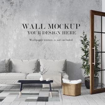 Conception de maquette de mur de salon confortable