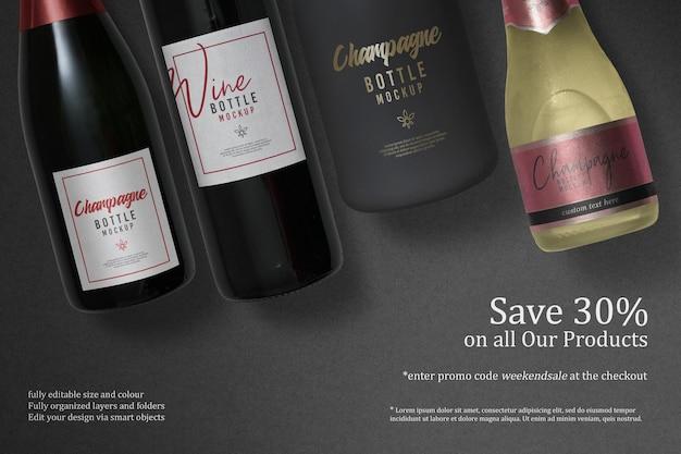 Conception de maquette de nottle vin et champagne isolée