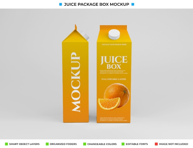 Conception de maquette de paquet de boîte de jus de carton