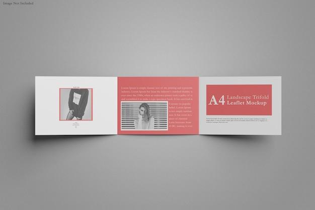 Conception de maquette de paysage à trois volets brochure a4 isolée