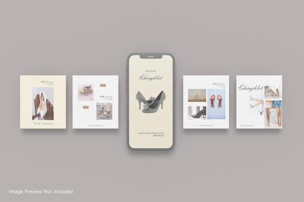 Conception de maquette de poste de médias sociaux de téléphone d'écran