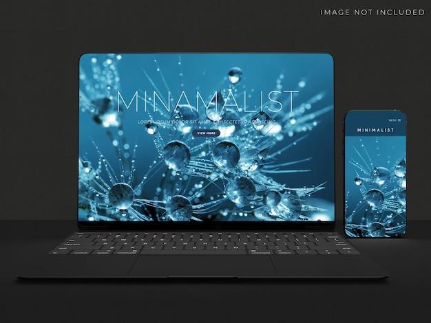 Conception de maquette réaliste pour ordinateur portable et smartphone