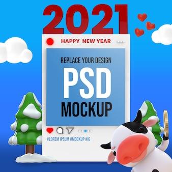 Conception de maquette de rendu 3d de bonne année