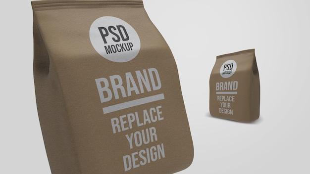 Conception de maquette de rendu 3d de sac de café en papier