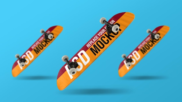 Conception de maquette de rendu 3d de skateboard