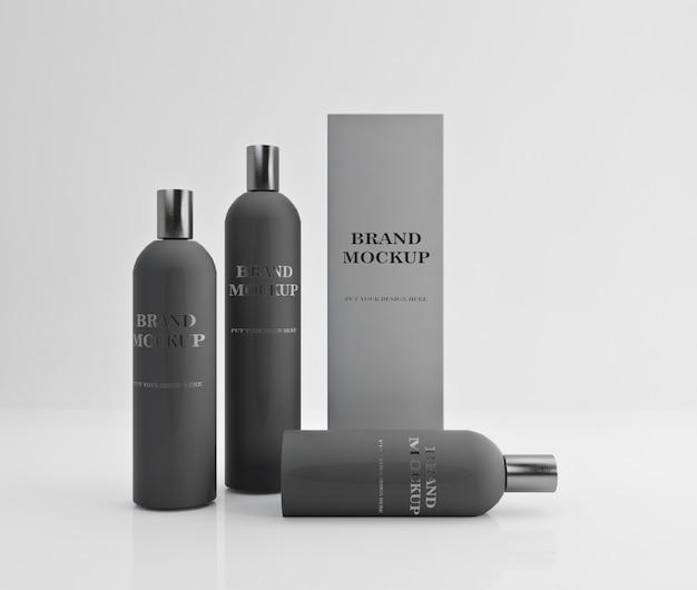 Conception de maquette de shampooing et revitalisant de couleur grise