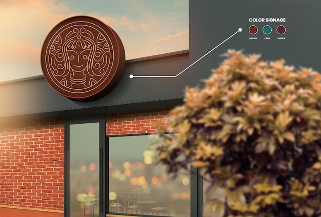 Conception de maquette de signe circulaire d'une couleur modifiable de magasin premium