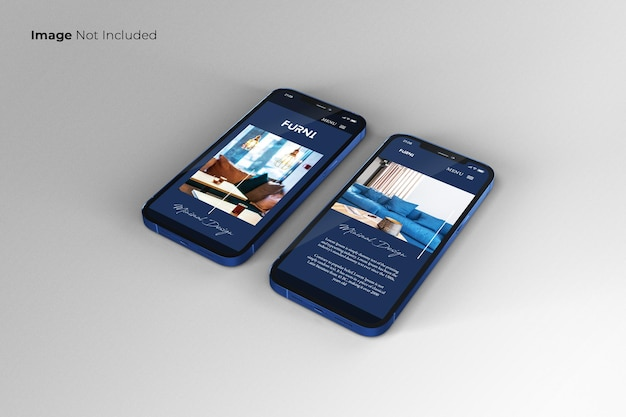 Conception de maquette de smartphone bleu plein écran
