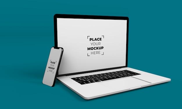 Conception de maquette de smartphone et d'ordinateur portable plein écran