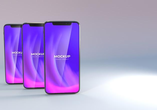 Conception de maquette de smartphone triple minimaliste