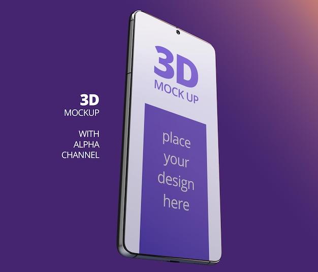 Conception de maquette de téléphone intelligent angle de rendu 3d