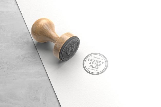 Conception de maquette de timbre en bois vintage
