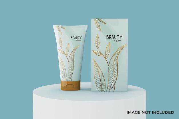 Conception de maquette de tube et de boîte cosmétique minimale modifiable avec podium