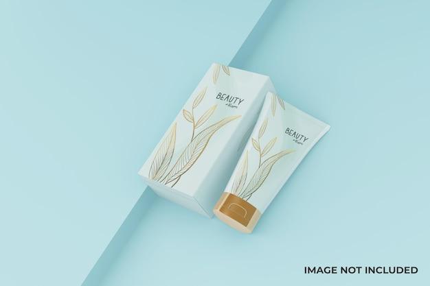 Conception de maquette de tube et de boîte cosmétique minimaliste réaliste