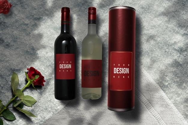 Conception de maquette de vin noir et blanc