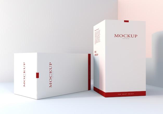 Conception de maquettes de boîtes d'emballage blanches propres réalistes