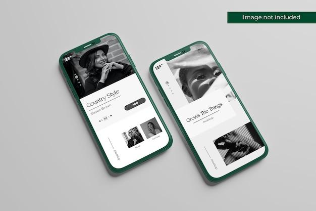 Conception de maquettes de smartphone en vue de face dans le rendu 3d