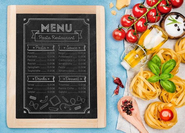 Conception de menus de restaurant de pâtes