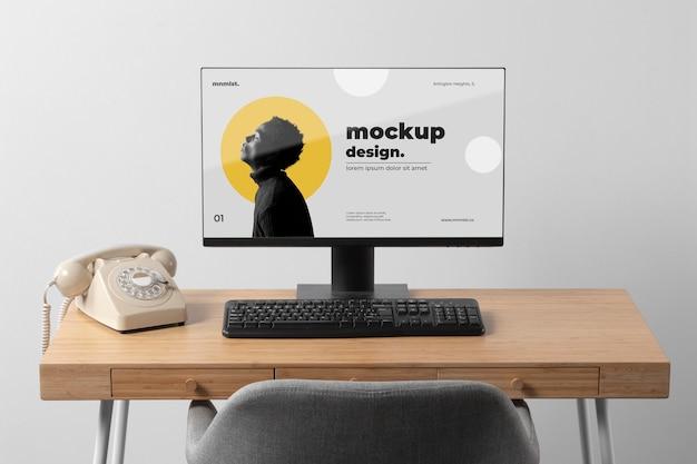 Conception minimale de maquette d'espace de travail de bureau