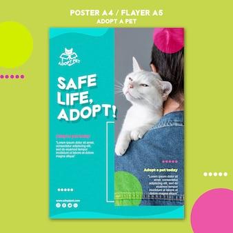 Conception de modèle d'affiche d'adoption pour animaux de compagnie