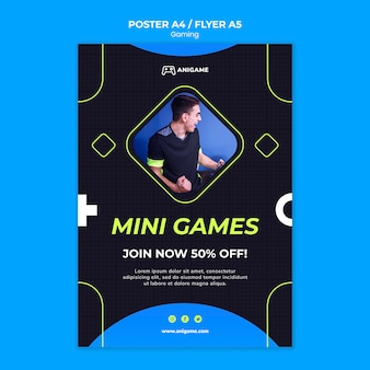 Conception de modèle d'affiche de concept de jeu
