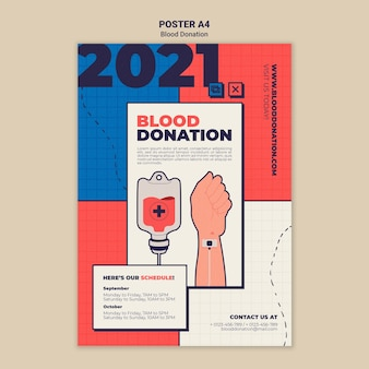 Conception de modèle d'affiche de don de sang