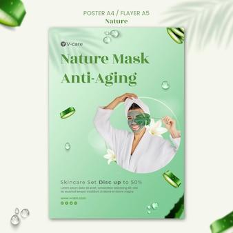Conception de modèle d'affiche et de flyer de cosmétiques naturels à l'aloe vera
