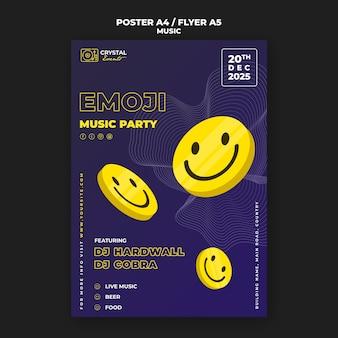 Conception de modèle d'affiche et de flyer de la fête de la musique emoji