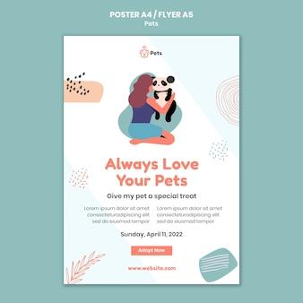 Conception de modèle d'affiche et de flyer pour animaux de compagnie
