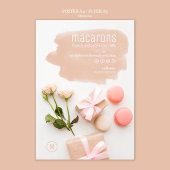 Conception de modèle d'affiche de macarons