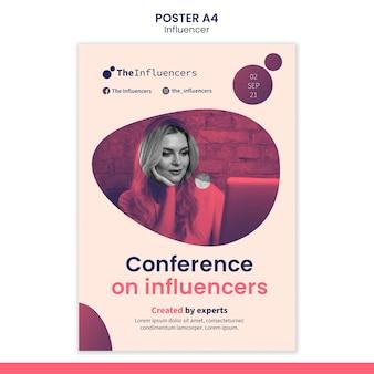 Conception de modèle d'affiche pour les influenceurs